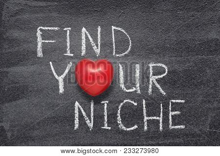 Find Your Niche Phrase Handwritten On Chalkboard With Red Heart Symbol Instead Of O