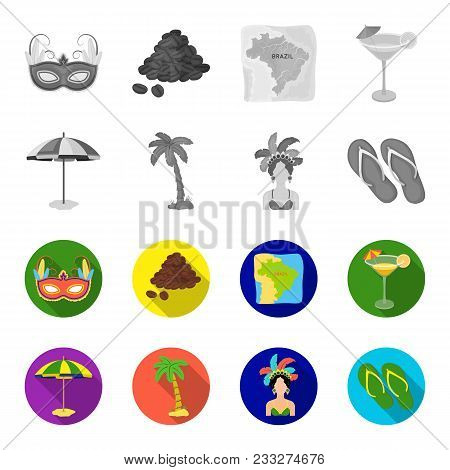 Brazil, Country, Umbrella, Beach . Brazil Country Set Collection Icons In Monochrome, Flat Style Vec