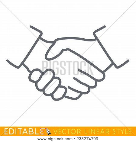 Handshake Linear Icon. Partnership Thin Line Illustration. Business Agreement Contour Symbol. Vector