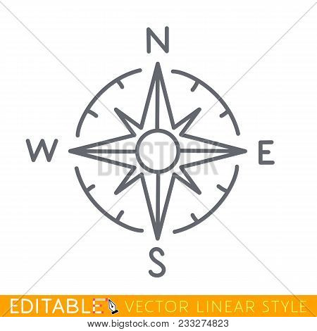 Wind Rose Isolated On White. Compass Directions. Editable Line Sketch Icon. Stock Vector Illustratio