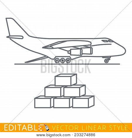 Cargo Plane Icon In Flat Linear Style. Editable Line Sketch Icon. Stock Vector Illustration.