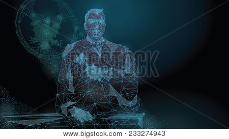 Abstract Polygonal Image Of A Judge With A Hammer In His Hand. A Symbol Of Justice In Law And Order