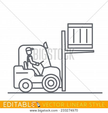 Forklift Truck With Man Driving Lifts Container. Editable Line Sketch Icon. Stock Vector Illustratio