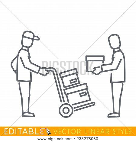 Courier, Delivers Goods, Parcel, Boxes To The Recipient. Delivery Service Man Carrying Boxes, Using