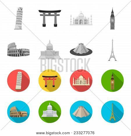 Sights Of Different Countries Monochrome, Flat Icons In Set Collection For Design. Famous Building V