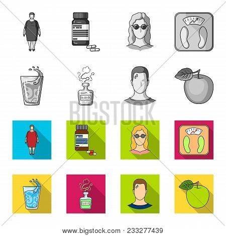 A Glass Of Water, A Bottle Of Alcohol, A Sweating Man, An Apple. Diabeth Set Collection Icons In Mon