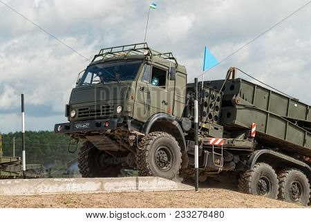 Tyumen, Russia - August 6, 2017: International Army Games. Safe Route Contest. Motion Of The Mechani
