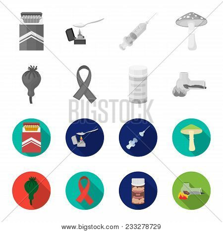 Aids Tape, Tablets, Opium Poppy, A Tube For Hashish.drug Set Collection Icons In Monochrome, Flat St
