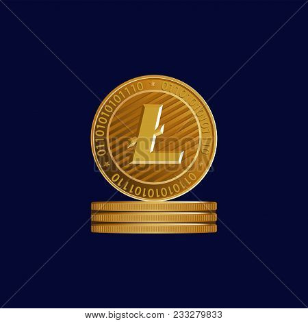 Gold Sign Of Crypto Currency. Litecoin. Symbol Of A Physical Coin. Dark Blue Background. Cryptograph