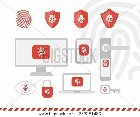 Fingerprint Id Security Objects Vector Illustration Collection. Tech Personal Safety Elements.