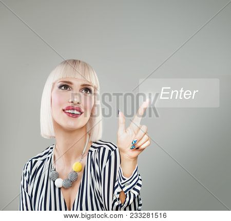 Blonde Woman Pushing Enter Icon. Choice And Agree Concept