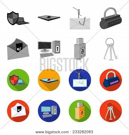 Virus, Monitor, Display, Screen .hackers And Hacking Set Collection Icons In Monochrome, Flat Style