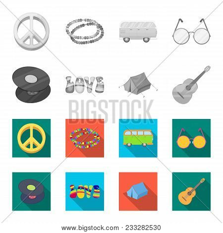 Vinyl Discs, Guitar, Tent.hippy Set Collection Icons In Monochrome, Flat Style Vector Symbol Stock I