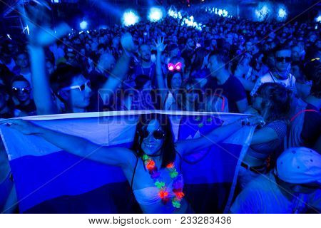 Novi Sad, Serbia - July 07 : Young Slovenian Girl With Flag In Crowd On Dance Arena Aria During Exit