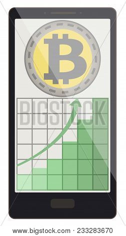 Bitcoin Coin With Growth Graph On A Phone Screen,crypto Currensy With Diagram In The Phone, Bitcoin