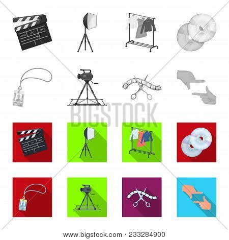 Badge, Operator Gesture And Other Accessories For The Movie. Making Movie Set Collection Icons In Mo