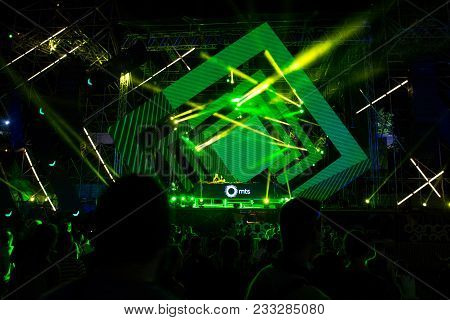 Novi Sad, Serbia - July 05 : Crowd In Front Of The Stage On Dance Arena During Marta B2b Sugar Lobby
