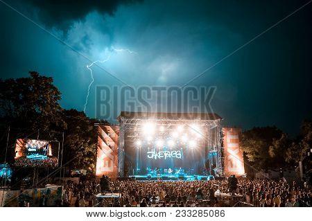Novi Sad, Serbia - July 07 : Lightning Above Main Stage During Jake Bugg Perform On The Exit Festiva