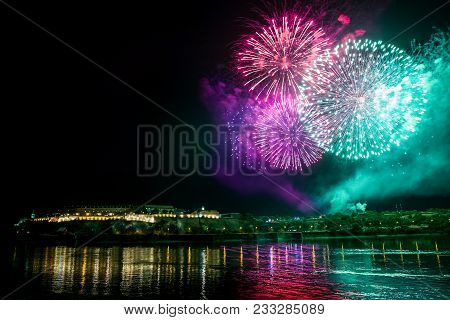 Novi Sad, Serbia - July 07 : Fireworks For Opening Ceremony Above Petrovaradin Fortress In Summer Of