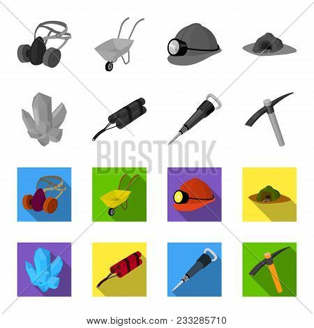 Minerals, Explosives, Jackhammer, Pickaxe.mining Industry Set Collection Icons In Monochrome, Flat S