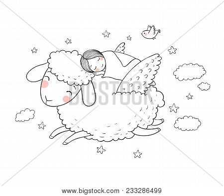 A Sleeping Girl And A Sheep With Wings. Good Night. Sweet Dreams. Vector Illustration. Bed Time. Iso