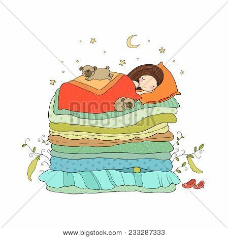 A Little Girl And Cute Pugs Are Sleeping On The Bed. Good Night. Sweet Dreams. Vector Illustration.