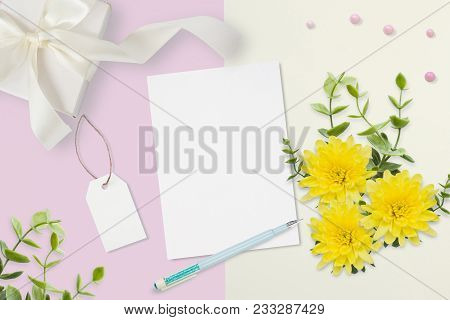 Letter, Envelope And A Present On Pink Gray Background. Wedding Invitation Cards Or Love Letter With