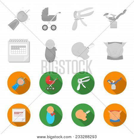 Calendar, Newborn, Stomach Massage, Artificial Feeding. Pregnancy Set Collection Icons In Monochrome