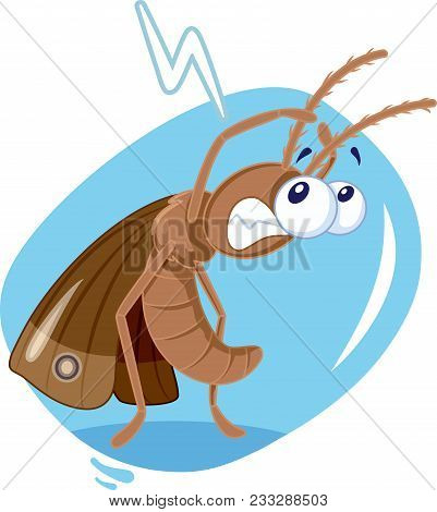 Scared Moth Insect Vector Cartoon Enemy Of Textiles And Wool Clothes