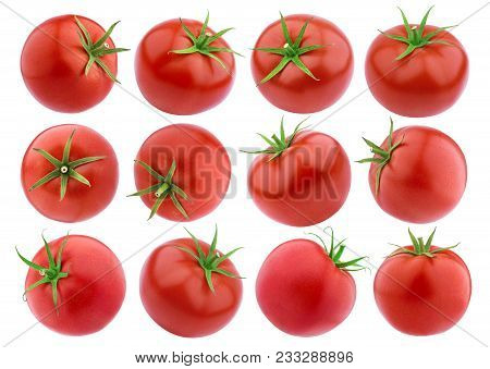 Tomatoes Isolated. Fresh Tomato Set Isolated On White Background With Clipping Path