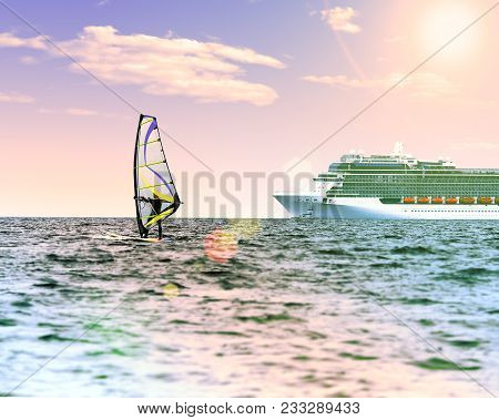 Windsurfer In The Sea With A Cruise Ship On Backgroung. Pink Toned, Lens Sun Flare, Sun On Blue Sky.