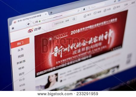 Ryazan, Russia - March 01, 2018 - Homepage Of Microblogging Service Weibo On A Display Of Pc.