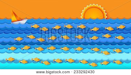 Many Fishes In The Sea. Sailfish On Blue Waves. Sun And Cloud In Day Sky. Ocean And Sea Fishing. Eco