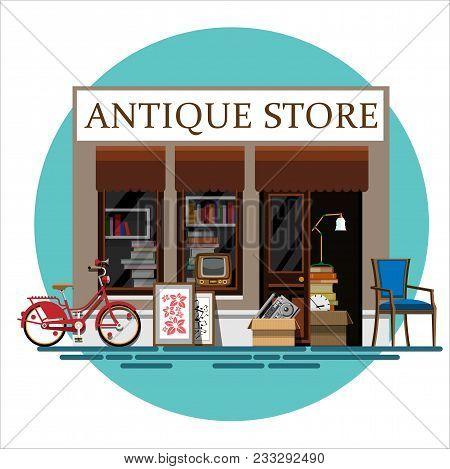 Antique Store. Antique Shop. Retro Store. Store Facade. Facade Of An Antique Shop. Illustration Of A