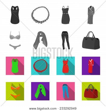 Bra With Shorts, A Women's Scarf, Leggings, A Bag With Handles. Women's Clothing Set Collection Icon