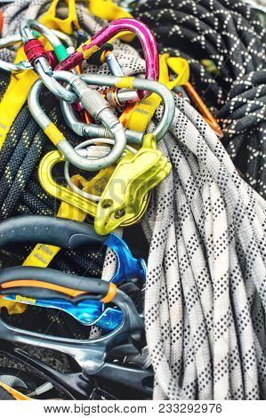 Used Climbing Equipment - Carabiner Without Scratches, Climbing Hammer, White Helmet And Grey, Red,