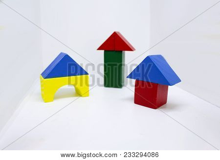 Colored Smll Houses From Wooden Blocked Constructor