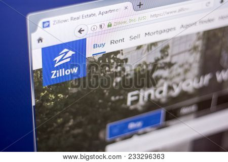 Ryazan, Russia - March 01, 2018 - Homepage Of Zillow - Real Estate Service, On A Display Of Pc, Web