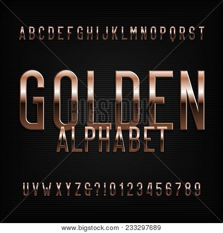 Gold Alphabet Font. Golden Beveled Glossy Letters, Numbers And Symbols. Stock Vector Typeface For An