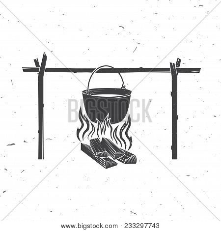 Pot On The Fire Silhouette. Vector Illustration. Element For Camping Adventure Badges, Label, Tshirt