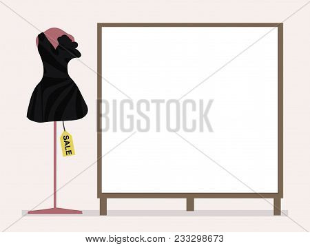 Black Cocktail Dress On A Pink Mannequin And Tag Sale Next To A Blank Placard For Inscriptions On A