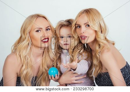 Child Small Boy And Twins Women, Relatives. Happy Family Play With Toy Balls. Mother And Son, Happin