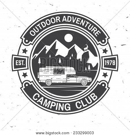 Camping Club. Vector Illustration. Concept For Shirt Or Logo, Print, Stamp Or Tee. Vintage Typograph