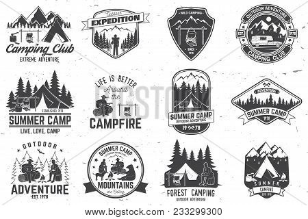 Set Of Summer Camp Badges. Vector. Concept For Shirt Or Logo, Print, Stamp Or Tee. Vintage Typograph