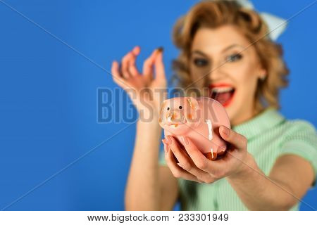 Sensual Girl Save Money For Future. Retro Woman Hold Moneybox, Piggy Bank For Savings. Crisis And Lo