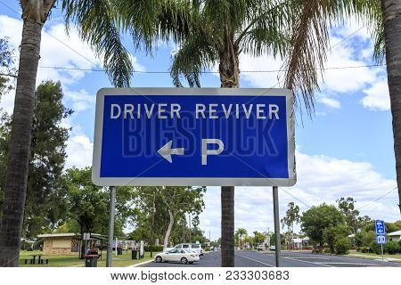 Sign Indicating The Location Of A Driver Reviver Site In Inglewood, Queensland, Australia. The Site