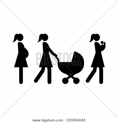Set Of Motherhood Icons. Baby Carrier, Pregnant Woman, Mother And Baby Carriage.