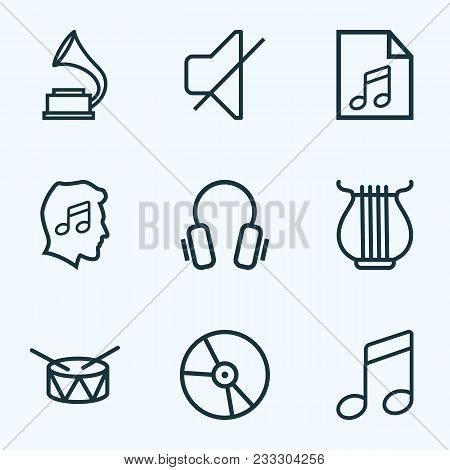 Music Icons Line Style Set With Headphone, Vinyl, Play List And Other Plastic Elements. Isolated  Il