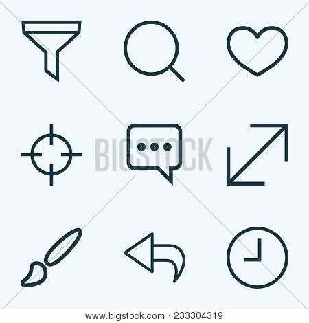 Interface Icons Line Style Set With Return, Messenger, Enlarge And Other Heat Elements. Isolated  Il