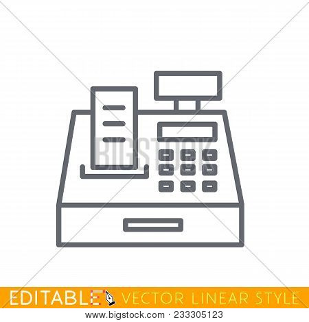 Cash Register Line Icon, Outline Vector Sign, Linear Pictogram Isolated On White. Editable Stroke Sk
